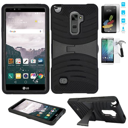Wal Mart Flat Screen (LG Stylo-2-Plus (Walmart Family Mobile) / LG Stylo-2-Plus-MS550 Tempered Glass Screen Protector with Phone Case Heavy Duty Armor Cover (Armor Black Skin-Black Stand / Tempered)
