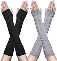 YHBAO 2 Pairs Womens Winter Knit Long Fingerless Gloves - Thumbhole Arm Warmers