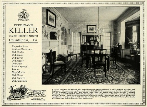 1922 Ad Ferdinand Keller Antique Furniture Sheraton Dining Room Household Decor - Original Print Ad (Dining Room Sheraton)