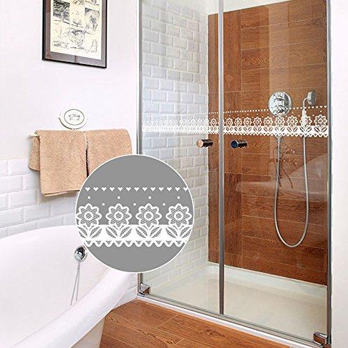 (SimpleLife4U White Lace Transparent Removable Wallpaper Border Shop Display Window Sticker Bathroom Mirror Decor)