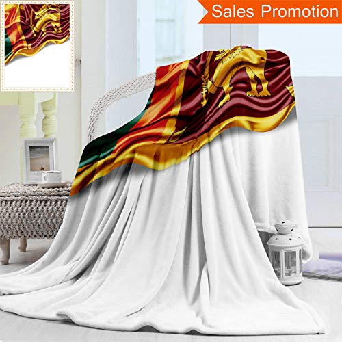 "Unique Custom Warm 3D Print Flannel Blanket Sri Lanka Flag of Silk with Copyspace for Your Text Or Images and White Background Cozy Plush Supersoft Blankets for Couch Bed, Twin Size 60"" x 70"""