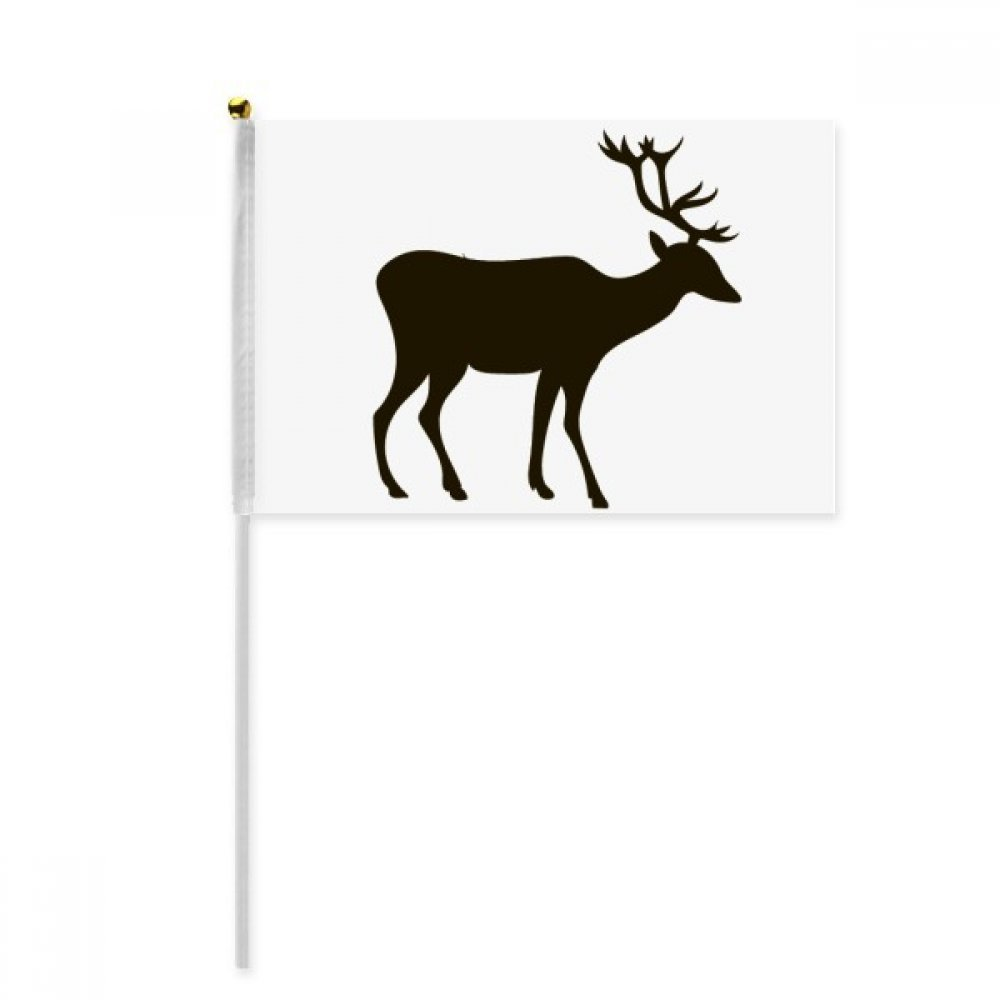 Black Deer Cute Animal Portrayal Hand Waving Flag 8x5 inch Polyester Sport Event Procession Parade 4pcs