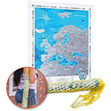 """Scratch off Poster Europe Map & String Bag. Premium Quality. Size 19""""X27"""". Detailed Travel Content. Stickers To Mark Activities. Perfect Gift for Travelers. Map with Scratch off"""