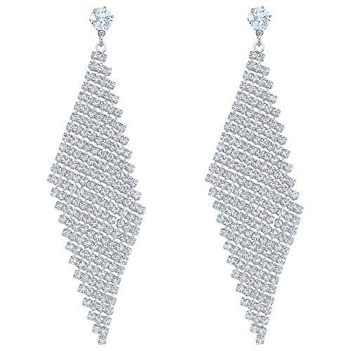 Women Wedding Jewelry Long Crystal Rhinestone Dangle Earrings Silver Diamond Shaped Metal Mesh Earrings