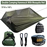 "Camping Hammock with Mosquito Net Ultralight Foldable Double Hammock with 28 Loop Tree Straps 118""x 79"" Capacity 660LBS for Outdoor Travel Indoor Hiking Backpacking"
