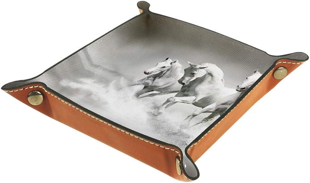 Amili - Bandeja decorativa de piel con diseño de caballos blancos para guardar llaves, teléfono, monedas, relojes, etc., color café