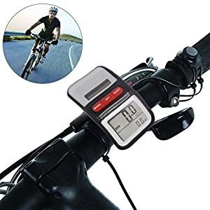 Bicycle Pedometer Odometer Solar Power Speedometer Waterproof Cycle Bike LCD Display Auto ON/OFF Multifunction by LEDMEI