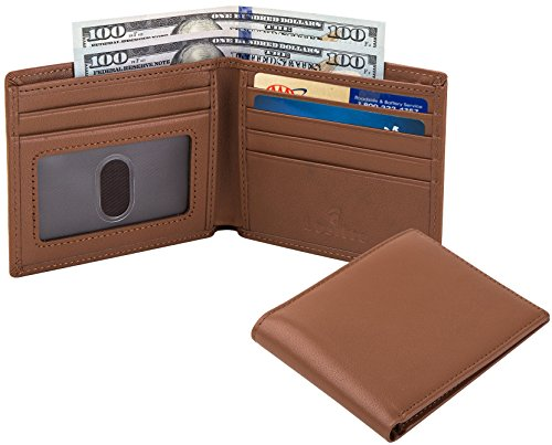 Lositto RFID Blocking Genuine Leather Wallet for Men-Excellent as Travel Bifold (Smooth tan-Nappa top grain leather) ()