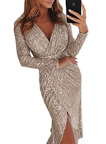Elapsy Womens Sexy Luxurious Deep V Neck Sequins Wrapped Ruched Irregular Bodycon Slip Party Nightclub Dress Silver