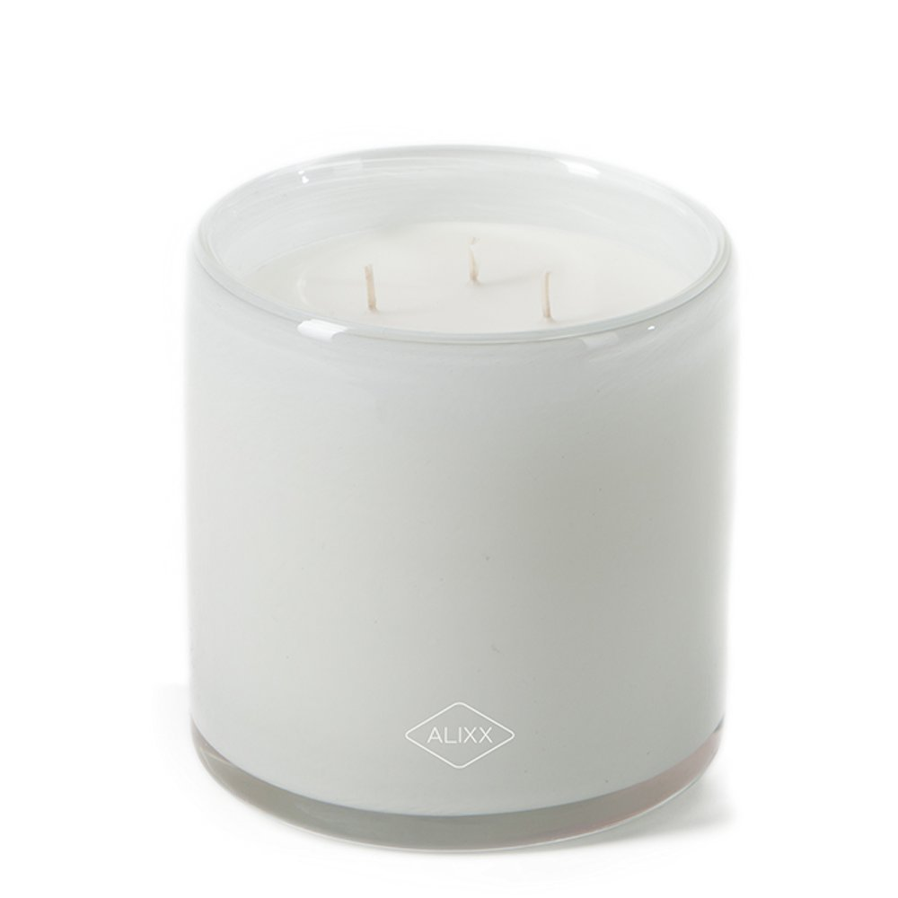 Alixx Tea Time Large White 200-Hour Three Wick Glass Candle