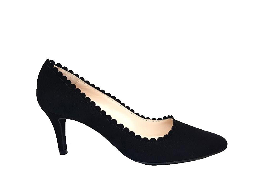 Gennia ISAROAD - Damen Schwarz Pumps Schuhe + + + Kitten Absatz + Spitze Spitz + Franse da4f95