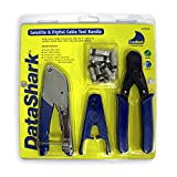 "DataShark 70018 Cable TV ""F"" Compression Bundle with Cable Cutter, Coax Stripper, Compression Crimper, and 10 RG6/RG6-Quad Cable TV ""F"" Connectors"