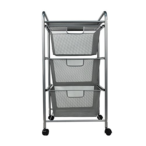 YIMU 3 Tier Metal Mesh Rolling Cart with 3 Drawers, Office& Kitchen Storage with Rolling Wheels, Silver, L14 W13 H27 Inches ()