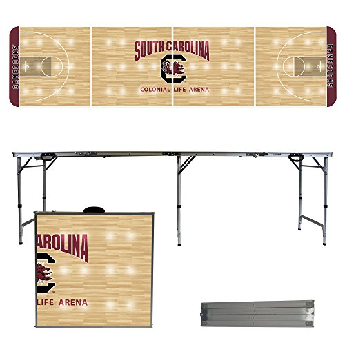 NCAA South Carolina Gamecocks USC basketball Court Version 8 Foot Folding Tailgate Table,1234,Multicolored by Victory Tailgate
