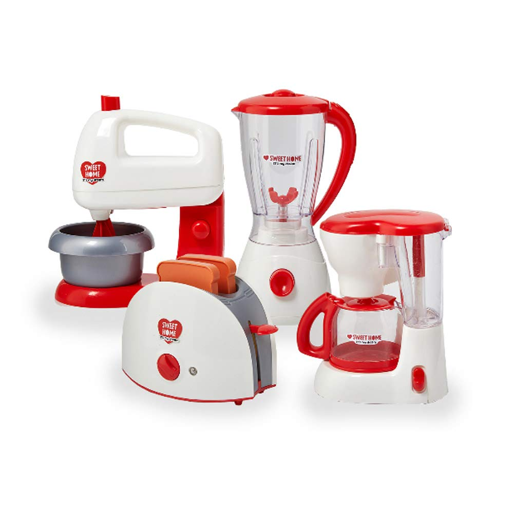Sweet Home Kitchen Appliance Playset for Kids Toaster Mixer Blender Coffee Maker Chef Kitchen Red