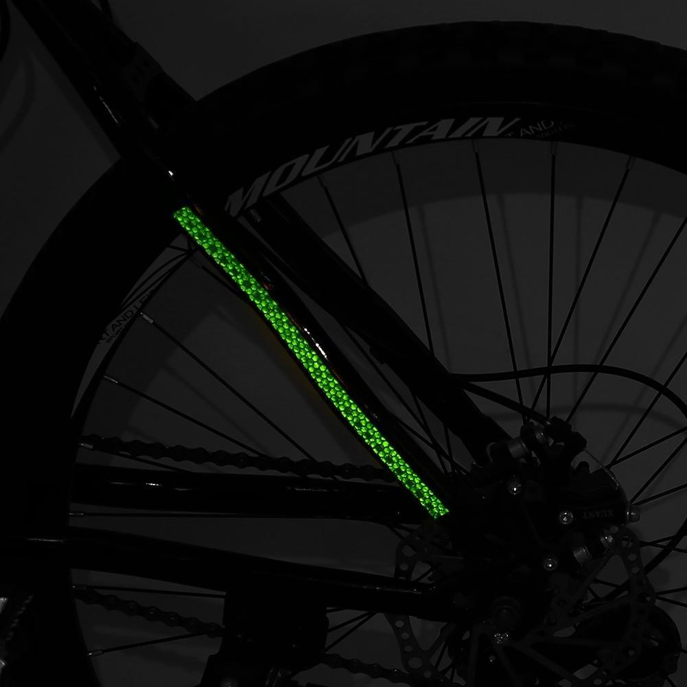 Alomejor 2 Rollos de Bicicleta Etiqueta Engomada Reflectante Ciclismo Rueda de Seguridad Cinta de la Raya para Coche Motocicleta Ciclismo Bicicleta Bicicleta