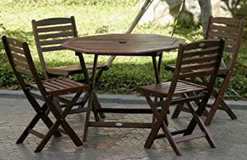 Amazoncom 5pc Outdoor Wood Folding Patio Dining Set Outdoor And