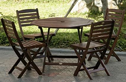 Charmant 5pc Outdoor Wood Folding Patio Dining Set
