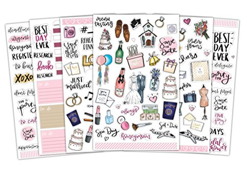 Bloom Daily Planners Wedding Planning Sticker Sheets - Wedding Sticker Pack - Over 250 Stickers Per Pack!