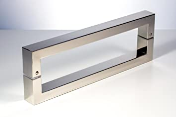 Modern Contemporary 16 Inches Square Rectangle Flat Shape Stainless Steel Door  Handle Pull Shower Glass Barn Entry Exterior Interior Push Gate Entrance ...