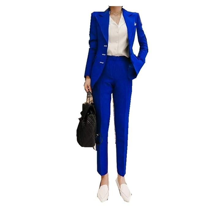 Amazon.com: Traje de mujer 2 piezas (chaqueta + pantalones ...