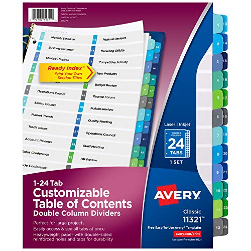 Avery Ready Index 24-Tab Double Column Dividers, Printable Table of Contents, Multicolor Tabs, 1 Set (11321)