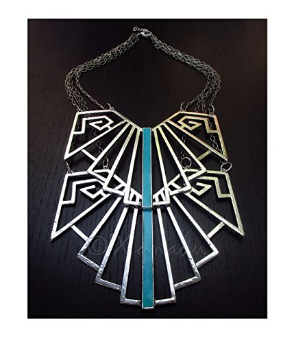 ShopForAllYou Buy Silver Statement Necklace - Nazca Lines Necklace With Turquoise Enamel Inlays from ShopForAllYou