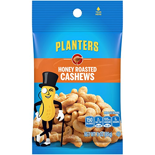 Planters Cashews, Honey Roasted, 3-Ounce Bags (Pack of 12) by Planters