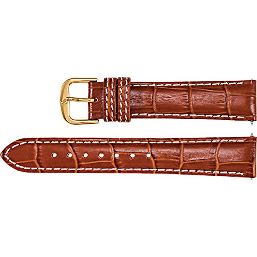 Men's 28mm Tan Regular Alligator Grain Heavy Padded Creme Stitching Watch Strap