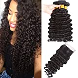 Deep Curly Hair Bundles with Closure Brazilian Deep Wave Bundles with Free Part Lace Closure 4×4 Lace Closure with Bundles Mixed Length Hair Bundles Natural Color (12 14 16 + 10,free part)