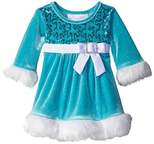 Bonnie Baby Baby Girls' Sparkle Stretch Velvet Sequin Bodice Santa Dress, Aqua, 3-6 Months