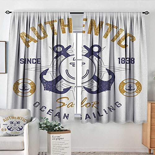 Track Smart Rudder - Theresa Dewey Blackout Curtains Anchor,Authentic Nautical Print with Anchor Lifeboys and Rudder Captain Features, Golden Blue White,for Room Darkening Panels for Living Room, Bedroom 42