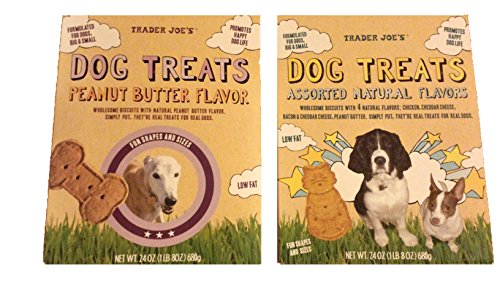 Trader Joe's Low Fat Wholesome Dog Biscuit Treats with Natural Ingredients Value Bundle - 1 Box Peanut Butter Flavor & 1 Box Assorted Natural Flavors (24 Oz. Per Box)