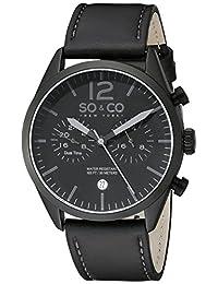 SO & CO New York Men's 5028.2 Monticello Analog Display Quartz Black Watch