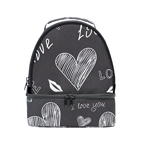 Vantaso Insulated Lunch Box Bag Black White Heart for Women Kids Girls -