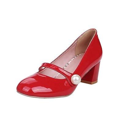 Damen Süß Modern Bequem Dicker Absatz mit Falschen Perle Runde Geschlossen Blockabsatz Pumps Freizeitschuhe (36, Mint Green) Mee Shoes