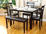 Dining Kitchen Set of 5 pc Rectangular Table and 3 Wooden Chairs Warm 1 Stained Bench in Espresso Black Finish