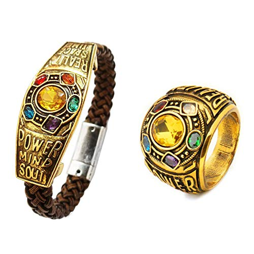 N-BOOMOR Thanos Stones Bracelet Movie Inspired Jewelry Party Ring