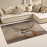 WOZO Vintage Whitetail Buck Deer Area Rug Rugs Non-Slip Floor Mat Doormats Living Room Bedroom 60 x 39 inches