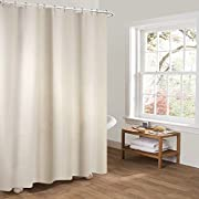 Htovila 72 * 72'' Polyester Waterproof Mildewproof Shower Curtain Decorative Privacy Protection Bathroom Curtain with 12pcs Hooks-White Plaid