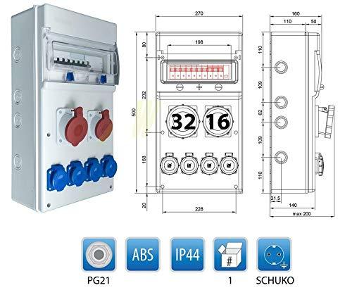 1 x CEE32A//400V 1 CEE16A//400V LS +FI Baustromverteiler IP65 4 x 230V