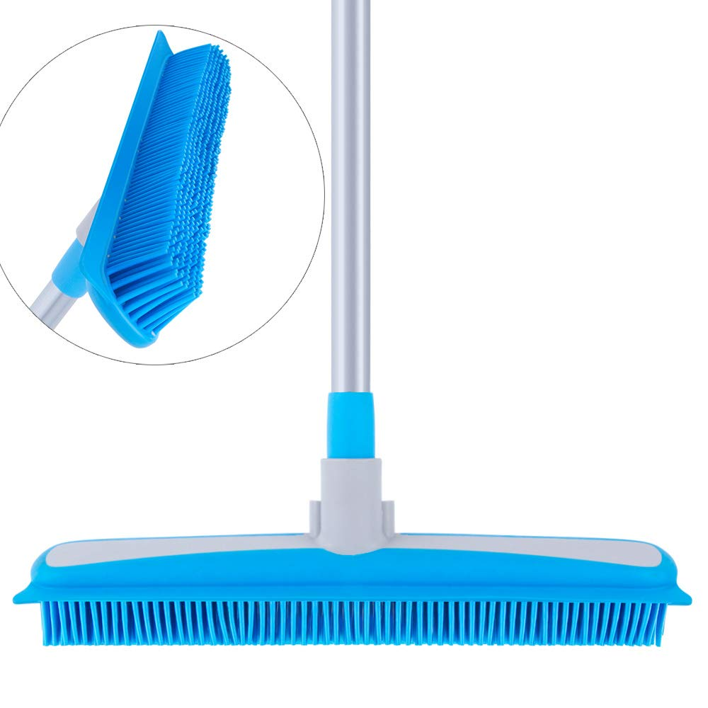 MR.SIGA Soft Bristle Rubber Broom and Squeegee with Telescopic Handle- 12.4'' width by MR.SIGA