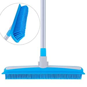 "MR.SIGA Soft Bristle Rubber Broom and Squeegee with Telescopic Handle- 12.4"" width"