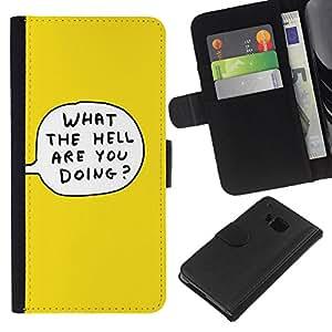 EJOY---La carpeta del tirón la caja de cuero de alta calidad de la PU Caso protector / HTC One M9 / --Amarillo de la burbuja de la historieta Qué Hacer El Infierno