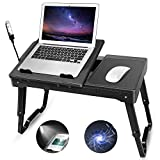 Laptop Desk for Bed-Moclever Multi-Functional Laptop Bed Tray with 2 Independent Laptop Stands-Foldable Adjustable to 2 Different Heights-Internal Cooling Pad for Laptop Table-LED Desk Lamp-4 Port USB