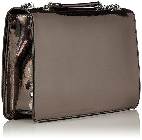 Love Moschino - Borsa Metal Pu Fucile, Shoppers y bolsos de hombro Mujer, Silber (Metal), 17x28x6 cm (B x H T)