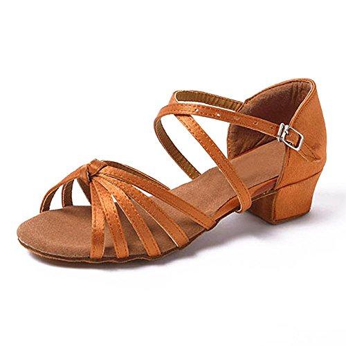 YFF La sala da ballo del tango di ballo latino scarpe tacchi bassi dancing per ragazzi ragazze bambini donne ladies,marrone nodi,5