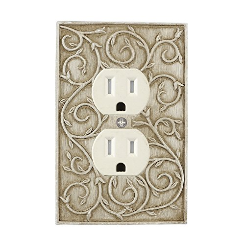(Meriville French Scroll Electrical Outlet Wall Plate Cover, Hand Painted Single Duplex receptacle outlet cover, Weathered White )
