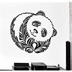 Stickers Vinyl Wall Art Decals Letters Quotes Decoration Panda Bear of Leaf Pattern Animal Ornament Tribal Mural