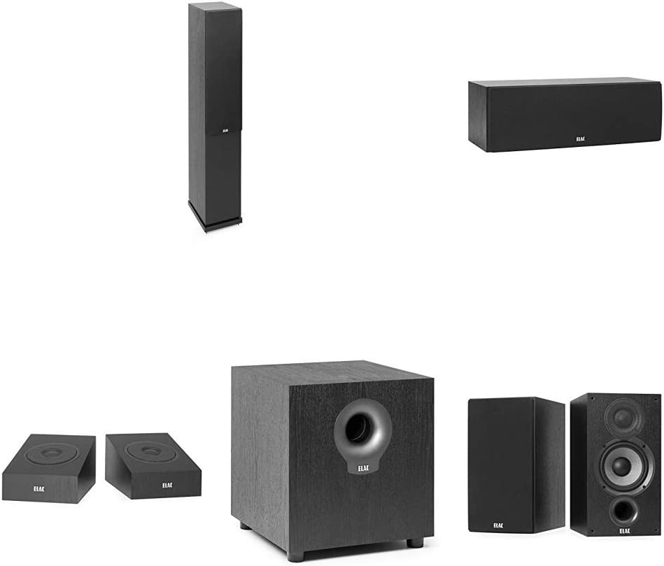 """Elac Debut 2.0 5-1/4"""" 5.1.4 Dolby Atmos Home Theater Speaker System (Tower Fronts)"""